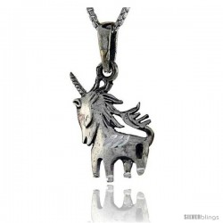 Sterling Silver Unicorn Pendant, 1 in tall -Style Pa88