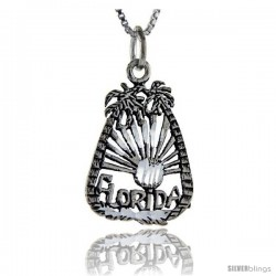 Sterling Silver Florida Talking Pendant, 1 in wide -Style Pa880
