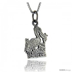 Sterling Silver California Talking Pendant, 1 in wide