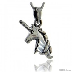 Sterling Silver Unicorn Pendant, 1 in tall -Style Pa89