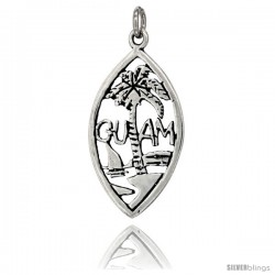 Sterling Silver Guam Talking Pendant, 1 in wide