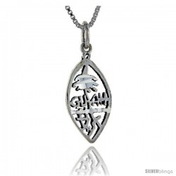 Sterling Silver Guam Talking Pendant, 1 in wide -Style Pa899