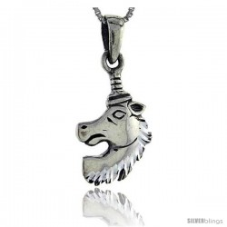 Sterling Silver Unicorn Pendant, 1 1/4 in tall -Style Pa90
