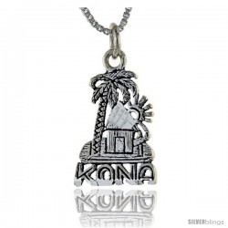 Sterling Silver Kona Talking Pendant, 1 in wide -Style Pa902
