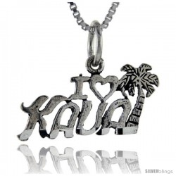 Sterling Silver I Love Kauai Talking Pendant, 1 in wide -Style Pa908