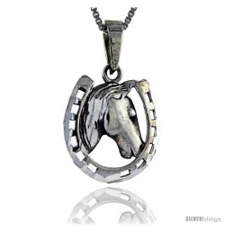 Sterling Silver Horseshoe Pendant, 1 1/8 in tall