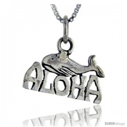 Sterling Silver Aloha Talking Pendant, 1 in wide