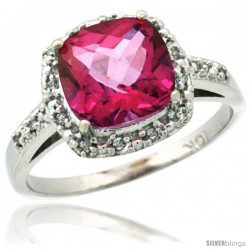 10k White Gold Diamond Pink Topaz Ring 2.08 ct Cushion cut 8 mm Stone 1/2 in wide