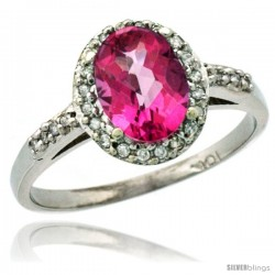10k White Gold Diamond Pink Topaz Ring Oval Stone 8x6 mm 1.17 ct 3/8 in wide
