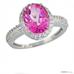 10k White Gold Diamond Pink Topaz Ring Oval Stone 10x8 mm 2.4 ct 1/2 in wide