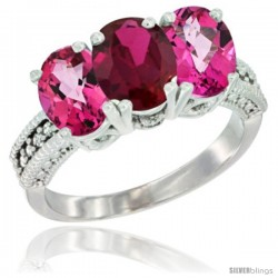 10K White Gold Natural Ruby & Pink Topaz Sides Ring 3-Stone Oval 7x5 mm Diamond Accent
