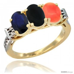 10K Yellow Gold Natural Blue Sapphire, Black Onyx & Coral Ring 3-Stone Oval 7x5 mm Diamond Accent