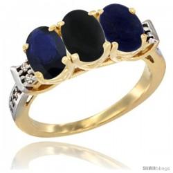 10K Yellow Gold Natural Blue Sapphire, Black Onyx & Lapis Ring 3-Stone Oval 7x5 mm Diamond Accent