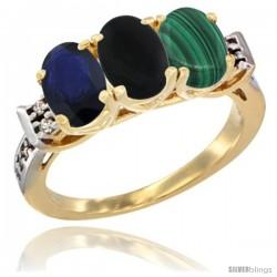 10K Yellow Gold Natural Blue Sapphire, Black Onyx & Malachite Ring 3-Stone Oval 7x5 mm Diamond Accent