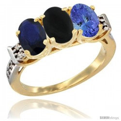 10K Yellow Gold Natural Blue Sapphire, Black Onyx & Tanzanite Ring 3-Stone Oval 7x5 mm Diamond Accent