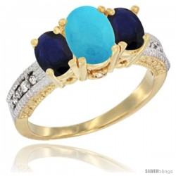 10K Yellow Gold Ladies Oval Natural Turquoise 3-Stone Ring with Blue Sapphire Sides Diamond Accent