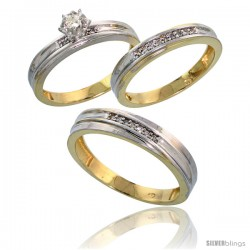 Gold Plated Sterling Silver Diamond Trio Wedding Ring Set His 4.5mm & Hers 3.5mm