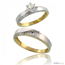 Gold Plated Sterling Silver 2-Piece Diamond Wedding Engagement Ring Set for Him & Her, 3.5mm & 4.5mm wide -Style Agy115em