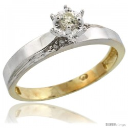 Gold Plated Sterling Silver Diamond Engagement Ring, 1/8 in wide -Style Agy115er