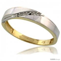 Gold Plated Sterling Silver Mens Diamond Wedding Band, 3/16 in wide -Style Agy115mb