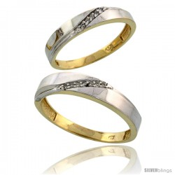 Gold Plated Sterling Silver Diamond 2 Piece Wedding Ring Set His 4.5mm & Hers 3.5mm -Style Agy115w2