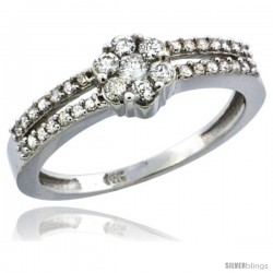 14k White Gold Flower Cluster Diamond Engagement Ring w/ 0.37 Carat Brilliant Cut Diamonds, 1/4 in. (6.5mm) wide