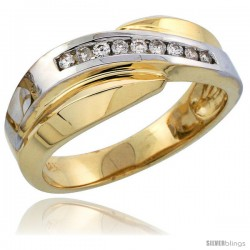 14k Gold Men's Diamond Band w/ Rhodium Accent, w/ 0.16 Carat Brilliant Cut Diamonds, 5/16 in. (8mm) wide