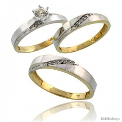Gold Plated Sterling Silver Diamond Trio Wedding Ring Set His 4.5mm & Hers 3.5mm -Style Agy115w3