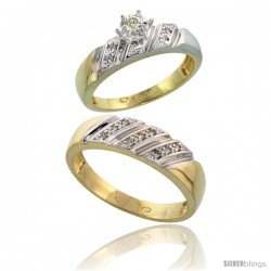 Gold Plated Sterling Silver 2-Piece Diamond Wedding Engagement Ring Set for Him & Her, 5mm & 6mm wide -Style Agy116em