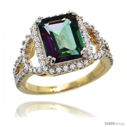 14k Gold Natural Mystic Topaz Ring 10x8 mm Emerald Shape Diamond Halo, 1/2inch wide