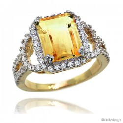14k Gold Natural Citrine Ring 10x8 mm Emerald Shape Diamond Halo, 1/2inch wide