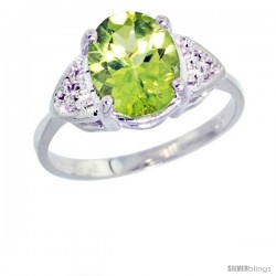 10k White Gold Diamond Peridot Ring 2.40 ct Oval 10x8 Stone 3/8 in wide