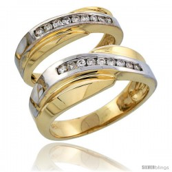 14k Gold 2-Piece His (8mm) & Hers (5mm) Diamond Wedding Band Set w/ Rhodium Accent, w/ 0.32 Carat Brilliant Cut Diamonds
