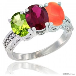 10K White Gold Natural Peridot, Ruby & Coral Ring 3-Stone Oval 7x5 mm Diamond Accent