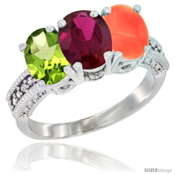 https://www.silverblings.com/76501-thickbox_default/10k-white-gold-natural-peridot-ruby-coral-ring-3-stone-oval-7x5-mm-diamond-accent.jpg