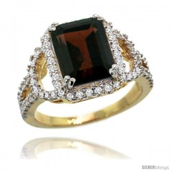 14k Gold Natural Garnet Ring 10x8 mm Emerald Shape Diamond Halo, 1/2inch wide
