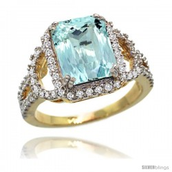 14k Gold Natural Aquamarine Ring 10x8 mm Emerald Shape Diamond Halo, 1/2inch wide