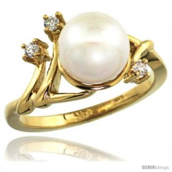 14k Gold Diamond Vine Pearl Ring w/ 0.085 Carat Brilliant Cut ( H-I Color VS2-SI1 Clarity ) Diamonds & 9mm White Pearl, 11/32