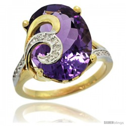 14k Gold Natural Amethyst Ring 16x12 mm Oval Shape Diamond Accent, 5/8 in wide
