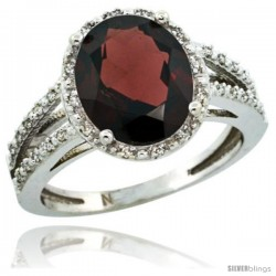 Sterling Silver Diamond Halo Natural Garnet Ring 2.85 Carat Oval Shape 11X9 mm, 7/16 in (11mm) wide