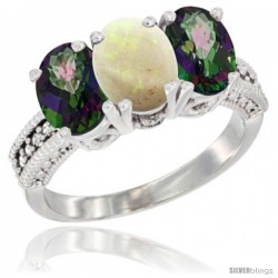 14K White Gold Natural Opal & Mystic Topaz Sides Ring 3-Stone 7x5 mm Oval Diamond Accent