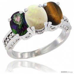 14K White Gold Natural Mystic Topaz, Opal & Tiger Eye Ring 3-Stone 7x5 mm Oval Diamond Accent