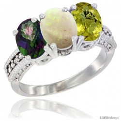 14K White Gold Natural Mystic Topaz, Opal & Lemon Quartz Ring 3-Stone 7x5 mm Oval Diamond Accent