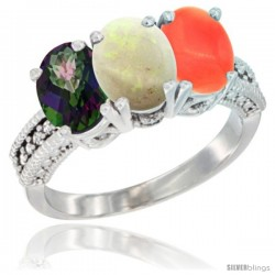 14K White Gold Natural Mystic Topaz, Opal & Coral Ring 3-Stone 7x5 mm Oval Diamond Accent