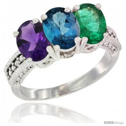 14K White Gold Natural Amethyst, London Blue Topaz & Emerald Ring 3-Stone 7x5 mm Oval Diamond Accent