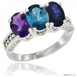 14K White Gold Natural Amethyst, London Blue Topaz & Blue Sapphire Ring 3-Stone 7x5 mm Oval Diamond Accent
