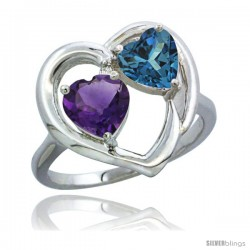 14k White Gold 2-Stone Heart Ring 6mm Natural Amethyst & London Blue Topaz Diamond Accent