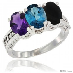 14K White Gold Natural Amethyst, London Blue Topaz & Black Onyx Ring 3-Stone 7x5 mm Oval Diamond Accent