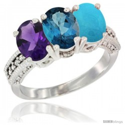 14K White Gold Natural Amethyst, London Blue Topaz & Turquoise Ring 3-Stone 7x5 mm Oval Diamond Accent