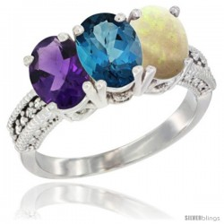 14K White Gold Natural Amethyst, London Blue Topaz & Opal Ring 3-Stone 7x5 mm Oval Diamond Accent